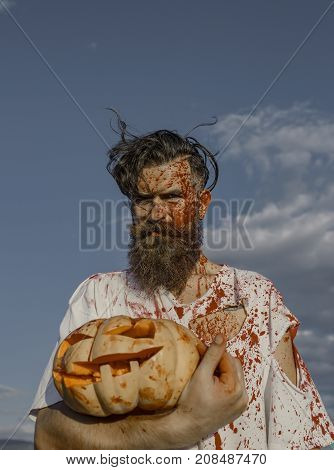 Halloween Zombie Hipster With Bloody Beard And Red Blood