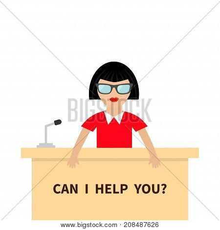 Can I help you. Women female people wearing eyeglasses. Table Information desk counter microphone. Reception service Info support. Cute cartoon character. Flat design White background Vector
