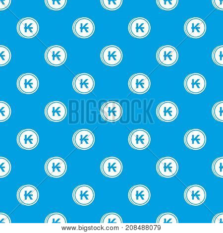 Coins lao kip pattern repeat seamless in blue color for any design. Vector geometric illustration