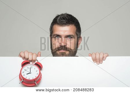 Guy With Smiling Face Hold White Paper.