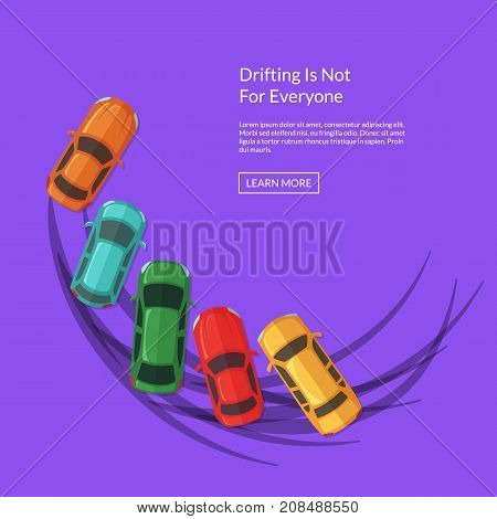 Vector drifting cars in the row with multiple tire tracks illustration