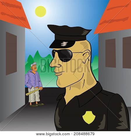 Police Officer Controls The Urban Area. Prevention of Offenses