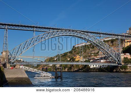 Dom Luis I Bridge over Douro River in Porto Portugal