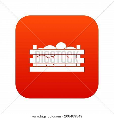 Watermelons in wooden crate icon digital red for any design isolated on white vector illustration