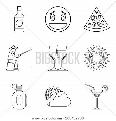 Night gathering icons set. Outline set of 9 night gathering vector icons for web isolated on white background