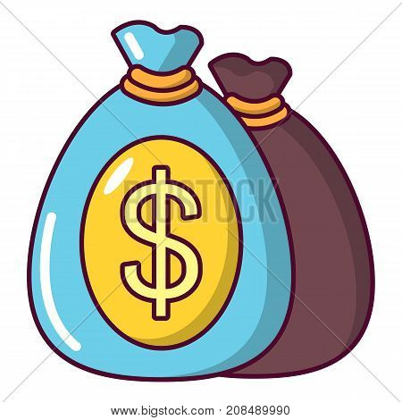 Money bag icon. Cartoon illustration of money bag vector icon for web