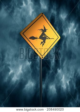 Warning yellow road sign with flying witch icon. Storm clouds on backdrop. 3D rendering