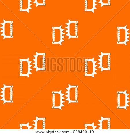 Knuckles with spikes pattern repeat seamless in orange color for any design. Vector geometric illustration