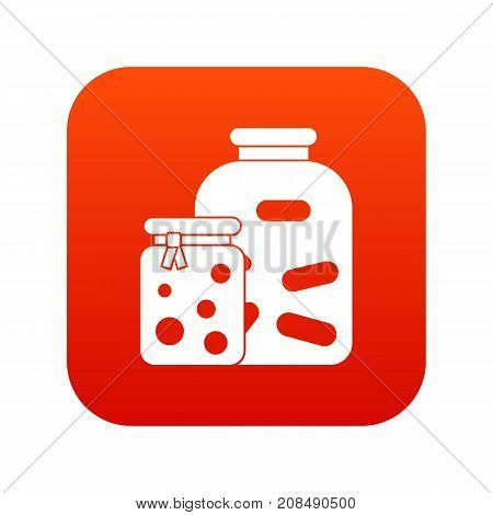 Jars with pickled vegetables and jam icon digital red for any design isolated on white vector illustration