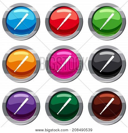 Black baseball bat set icon isolated on white. 9 icon collection vector illustration