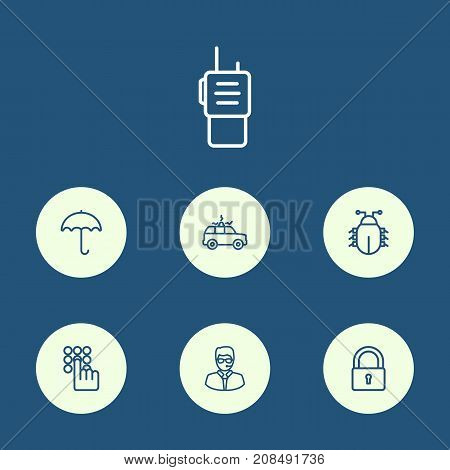 Collection Of Walkie-Talkie, Siren, Keypad And Other Elements.  Set Of 7 Procuring Outline Icons Set.