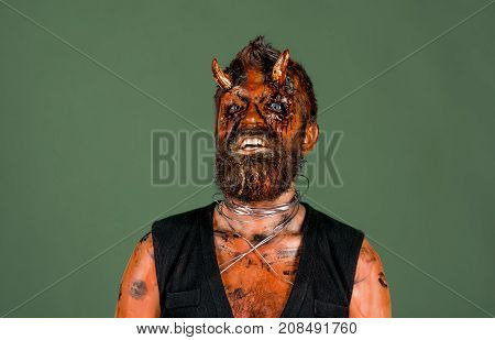 Halloween Demon With Red Blood Eyes, Beard, Wounds On Face