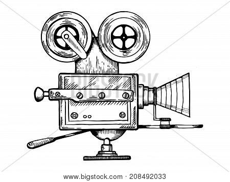 Old movie camera engraving vector illustration. Scratch board style imitation. Hand drawn image.