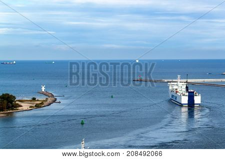 SWINOUJSCIE POLAND September 20 - 2017: Unity Line operates a year-round ferry service between the Polish port of Swinoujscie and the Swedish port of Ystad. A view of the ship leaving the harbor