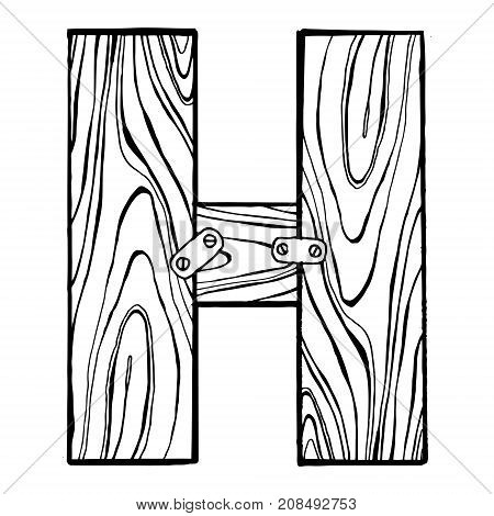 Wooden letter H engraving vector illustration. Font art. Scratch board style imitation. Hand drawn image.
