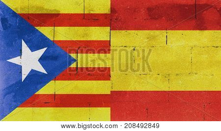 Flag Of Spain And Catalonia On A Wall