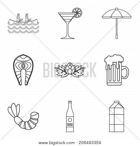 Big glass of ale icons set. Outline set of 9 big glass of ale vector icons for web isolated on white background