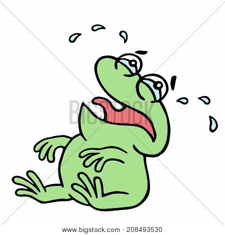 Cartoon crying green frogling. Vector illustration. Poor melancholy character.