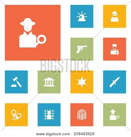 Collection Of Thief, Signal, Manacles And Other Elements.  Set Of 12 Criminal Icons Set.