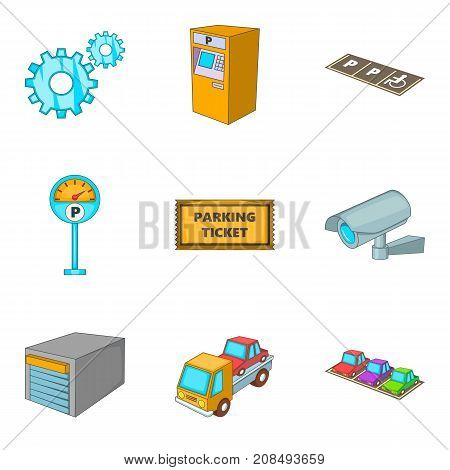Parking monitoring icons set. Cartoon set of 9 parking monitoring vector icons for web isolated on white background