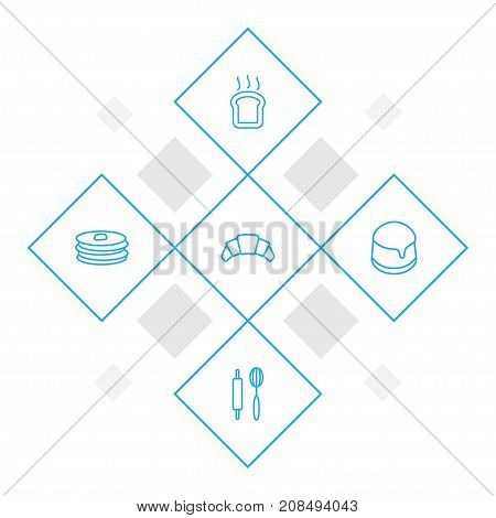 Collection Of Croissant, Rolling Pin, Pancakes And Other Elements.  Set Of 5 Cooking Outline Icons Set.