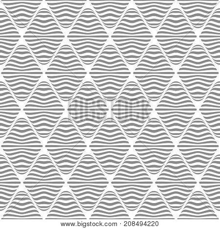 Seamless striped diamonds pattern. Lines texture. Vector art.