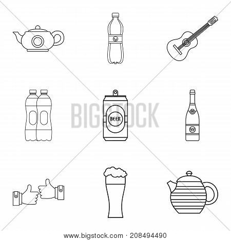 Can of beer icons set. Outline set of 9 can of beer vector icons for web isolated on white background