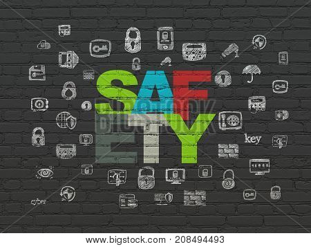Privacy concept: Painted multicolor text Safety on Black Brick wall background with  Hand Drawn Security Icons