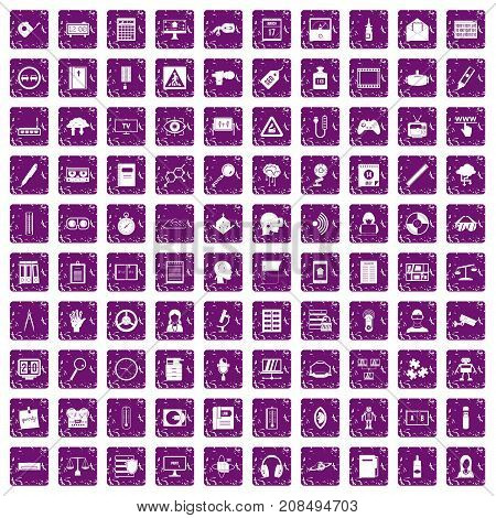 100 information icons set in grunge style purple color isolated on white background vector illustration