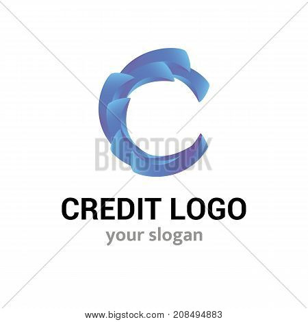 Finance abstract vector logo template for business company or identity isoleted on white background. Symbol concept for financial business service credit union lending agency insurance. 3d letter C.
