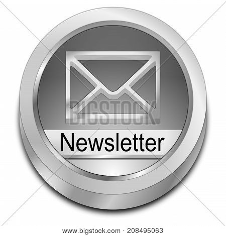 decorative silver Newsletter Button - 3D illustration