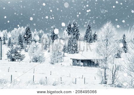 Small Snow Covered House In The Mountains