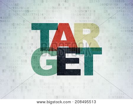 Finance concept: Painted multicolor text Target on Digital Data Paper background