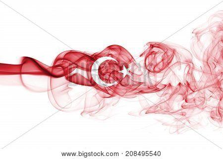 National smoke flag of Turkey isolated on white background