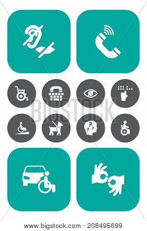 Collection Of Blindness, Mute, Braille And Other Elements.  Set Of 12 Accessibility Icons Set.