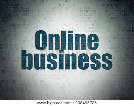 Finance concept: Painted blue word Online Business on Digital Data Paper background