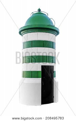 Lighthouse isolated on white background. Marine landmark.