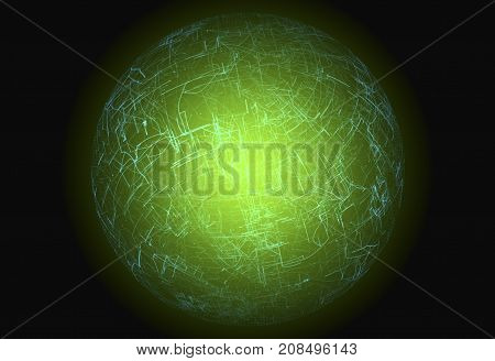 Digital connectivity artificial intelligence and data storage concept. Emerging connections conductors and neural signals inside a green glowing sphere