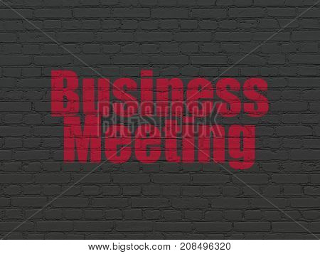 Business concept: Painted red text Business Meeting on Black Brick wall background