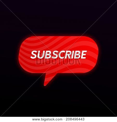Abstract Subscribe Button Icon. Social Network Promo Banner.