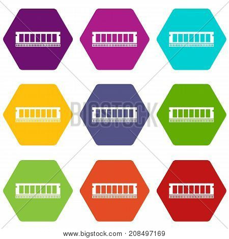 DVD RAM module for the personal computer icon set many color hexahedron isolated on white vector illustration