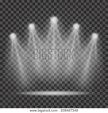 Spotlights With Light Beams On Transparent Background. Realistic Spotlights For Scene Lighting. Tran