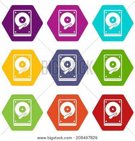 HDD icon set many color hexahedron isolated on white vector illustration