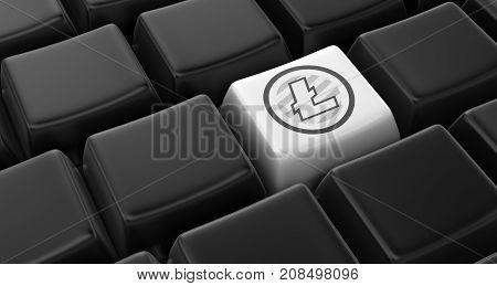 3d Illustration. Image of  litecoin key concept