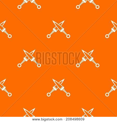 Crossed japanese daggers pattern repeat seamless in orange color for any design. Vector geometric illustration