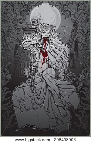 Dead bride. Zombie girl with a sewn up mouth, blood stained hands and dress sitting on a toumbstone. Gothic style poster with decorative frame and background. EPS10 vector illustration