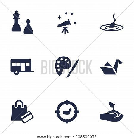 Collection Of Rod, Plant, Telescope And Other Elements.  Set Of 9 Entertainment Icons Set.