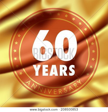 60 years anniversary vector icon logo. Template design element with golden medal in silk for 60th anniversary greeting card can be used as decoration element