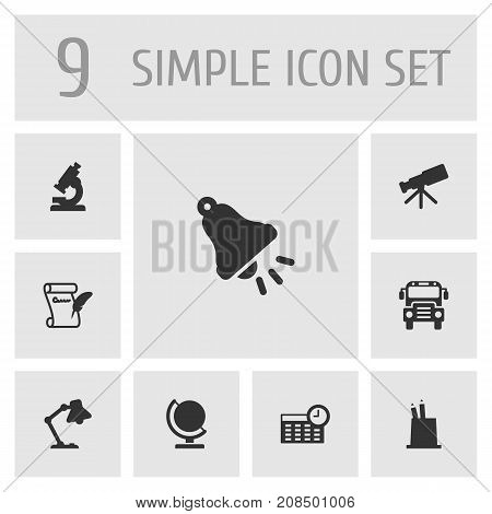 Collection Of Autobus, Agreement, Table Light And Other Elements.  Set Of 9 Education Icons Set.