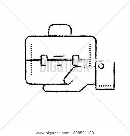 figure businessman with briefcase portfolio in the palm hand vector illustration